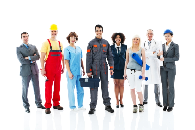 Diversity occupations people standing in line  and looking at the camera.   Isolated on white background. [url=http://www.istockphoto.com/search/lightbox/9786738][img]http://dl.dropbox.com/u/40117171/group.jpg[/img][/url]